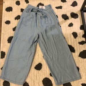 Brand new high waisted chambray paper bag pants